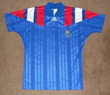 1992 EURO France National Soccer Team Adidas Home Blue Jersey Small Vintage EUC