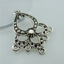 13602 15PCS Vintage Silver Tone Flower Dangle Pendant Connector Earring Making