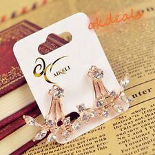 Women 18K Gold Plated Leaf Crystal Ear Jacket Double Sided Swing Stud Earrings