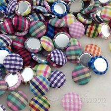 50 pcs15mm scot style gingham fabric covered button with flat back CT20