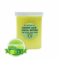 8 OZ GOLDEN COCOA BUTTER ORGANIC RAW PURE PRIME COLD PRESSED UNREFINED