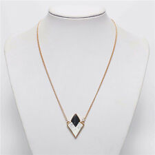 Women Gem Triangle Pendant Long Chain Necklace Sweater Statement Vintage Jewelry
