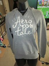 AEROPOSTALE Gray Long Sleeve Hoodie W White Lettering Size Xs Aero Cotton Blend