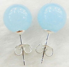 10mm Natural Light Blue Jade Round Beads 925 Silver Stud Earrings