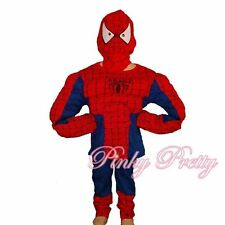 Muscle Spiderman Hero Boy Fancy Halloween Party Costume Outfit Mask Age 5-6y 005