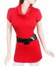 D87 -2X(14/16)- RED Stretch,Knited Blouse w/false belt