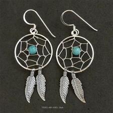 Dream Catcher Earrings Sterling Silver Turquoise gemstone bead crystal Jewellery