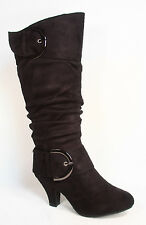 Women's Stylish Low Heel Round Toe Mid Knee Calf Dress Boots Shoes SZ 5 - 10 NEW