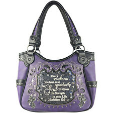 PURPLE BIBLE LIFE QUOTE RHINESTONE SHOULDER HANDBAG CONCEALED CARRY PURSE