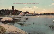 Onset Massachusetts view of cottages Dummy Bridge boats antique pc Z17082