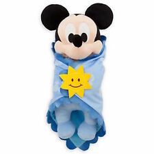 """disney parks 10"""" baby mickey mouse plush toy with blanket new with tag"""