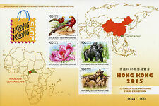 Central African Rep 2015 MNH Hong Kong 31st Int Ex 4v MS Birds Gorillas Stamps