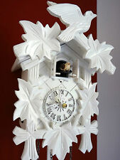 cuckoo clock black forest quartz german wood batterie clock white color new