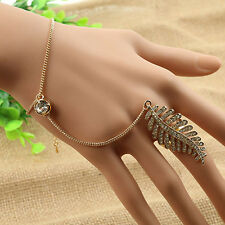 Lady Special Gold Plated Leaves Ring With Hand Chain Bracelet Bangle Gift