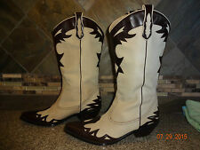 Womens Coldwater Creek Sz 7.5M Leather Upper Flame Fashion Cowboy Boots GREAT