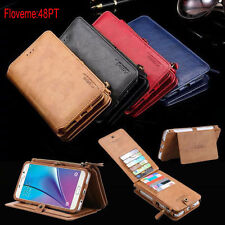 Genuine Leather Magnetic Multifunction Removable Zipper Wallet Card Case Cover