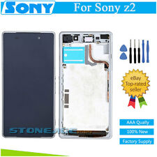 For Sony XPERIA Z2 D6503 D6502 White LCD Display +Touch Screen Digitizer+ Frame