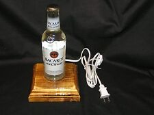 BACARDI SILVER RUM LIQUOR EMPTY BOTTLE LAMP NIGHTLIGHT LIGHT WOOD BASE