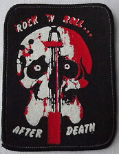 ROCK N ROLL AFTER DEATH  Bloody Guitar Skull Vtg Printed Sew On Patch 1980`s