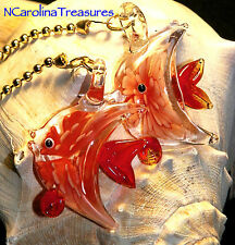 ART GLASS CEILING FAN CHAIN LIGHT SWITCH PULL RED FLORAL FISH LARGE PAIR