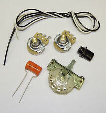 Telecaster Guitar Wiring Kit CTS 500K Solid Shaft Pots Orange Drop .022uf Cap