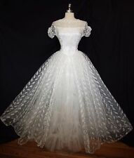 Exquisite Vintage 50s 1950s Dream Sheer White TULLE LACE WEDDING Gown DRESS S M