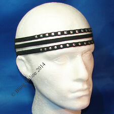 3x LONG BLACK 1cm HEADBANDS ELASTIC HAIR HEAD BAND STUDDED PLAIN MIX MENS UNISEX