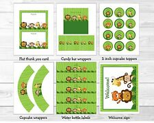 Safari Jungle Animals Printable Birthday Party Package