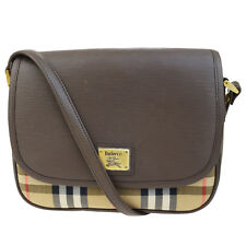 Authentic Burberrys Logos Cross Body Shoulder Bag Canvas Leather Brown 07F259