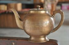 Old Brass Handcrafted Mosque & Church Inlay Engraved Tea Kettle / Pot