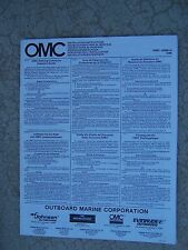1989 OMC Outboard Motor Installation Instructions Manual Johnson Evinrude Boat S
