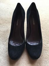 Plata Classic Black Suede Round Toe Heels Dress Shoes EU38 AU 7-7.5 24.5cm EUC