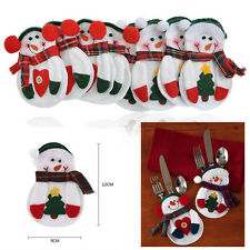 8PCS Santa Snowman Silverware Holder Pocket Holiday Party Christmas Home Decor