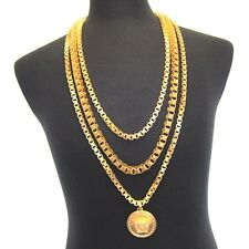 L-3367499 New Versace Uomo Triple Chain 24K Gold Plated Necklace