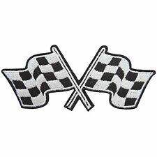 Checkered Flag Sport Racing Car Rockabilly Biker Champions Iron on Patches #1172
