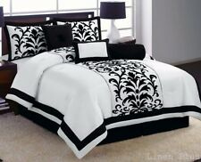 21 Pc White Black Luxury Flocking Comforter Curtain Sheet Set King Size New