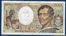 200 Francs Montesquieu Type 1981 - 1990 G.084 Qualité TTB