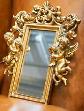 Lovely Barocco Rococò Cherubino Angelo Oro Dorati Specchio Parete 44 x 33.5cm Nizza Taglia