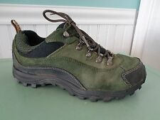 Lands End Green Black Low Trail Hiking Shoes Lace Up Rugged Womens Sz 8 Suede