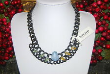 NORDSTROM BAUBLEBAR COUTURE BOLD GUN METAL CHAIN AND ACRYLIC STONES BIB NECKLACE