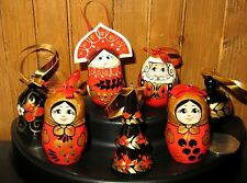 Russian ORNAMENTS set 7 KHOKHLOMA Christmas Tree Decorations SANTA SNOW MAIDEN