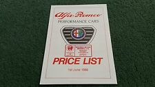 June 1988 ALFA ROMEO 33 / 75 / SPRINT UK PRICE LIST BROCHURE Westaway Motors