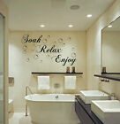 Soak Relax Enjoy Wall Art Sticker Quote Bathroom Bubbles Toilet Splish Splash