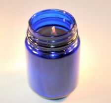 Vintage Cobalt Blue Glass Vicks Vapor rub Jars with natual Beeswax candle