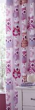 SUPERB OWLS BIRDS PINK TAB TOP LINED CURTAINS 66X72 168X183CM TO MATCH DUVET