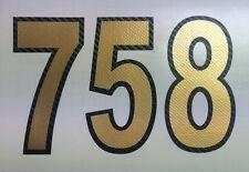 3D Numero di partenza,Adesivo Moto,Auto,Motocross,MX,Enduro fibra carbonio oro