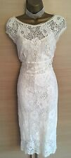 Exquisite Karen Millen Cream Delicate Lace Embroidered Dress & Bolero UK14