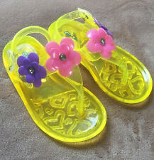 Glitz N Glam Brand Yellow Baby Girls Flip Flops Size 5 New