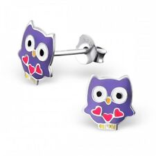 Childrens Ladies Sterling Silver Purple Owl Ear Studs stud earrings