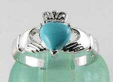 CLASSIC 9K 9CT WHITE GOLD PERSIAN TURQUOISE CLADDAGH HEART RING FREE RESIZE